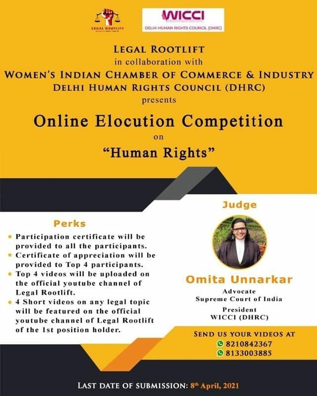 """ONLINE ELOCUTION COMPETITION ON""""HUMAN RIGHTS"""" BY LEGAL ROOTLIFT IN COLLABORATION WITH WICCI (DELHI HUMAN RIGHTS COUNCIL)"""