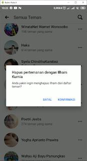 Cara Menghapus Teman Facebook di android