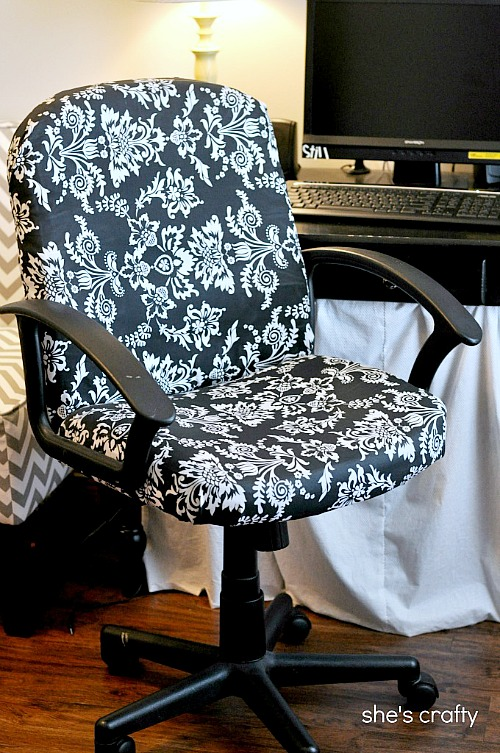 Office Chair, Rolling Office Chair, Damask Fabric, Recovered Office Chair