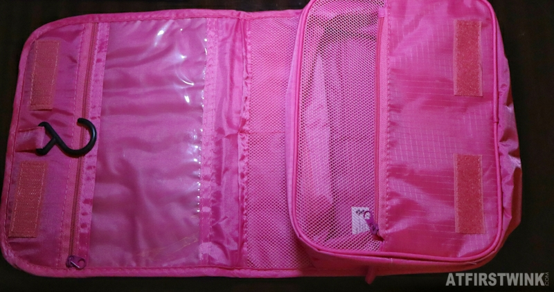 Flying tiger pink toiletry bag hanging compartments pockets