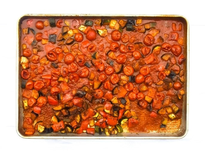 How to make ratatouille pasta - step - 6 - roasted ratatouille in sheet pan