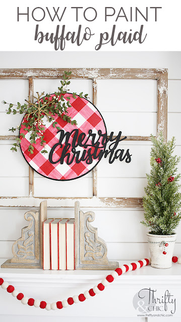DIY Christmas Wreath with Buffalo Plaid. How to paint red and white buffalo plaid. How to paint buffalo check pattern. Wood disc Christmas wreath tutorial.
