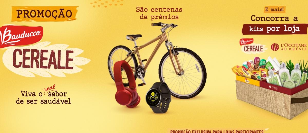 Promoção Bauducco Cereale 2021 Bikes, Fones JBL, Smartwatch Galaxy E Cestas de Produtos