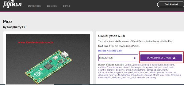 Download CircuitPython For Pico