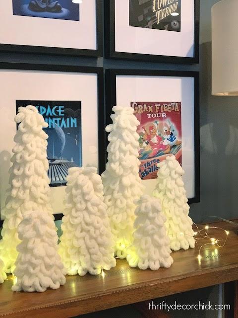 Fluffy yarn trees with fairy lights