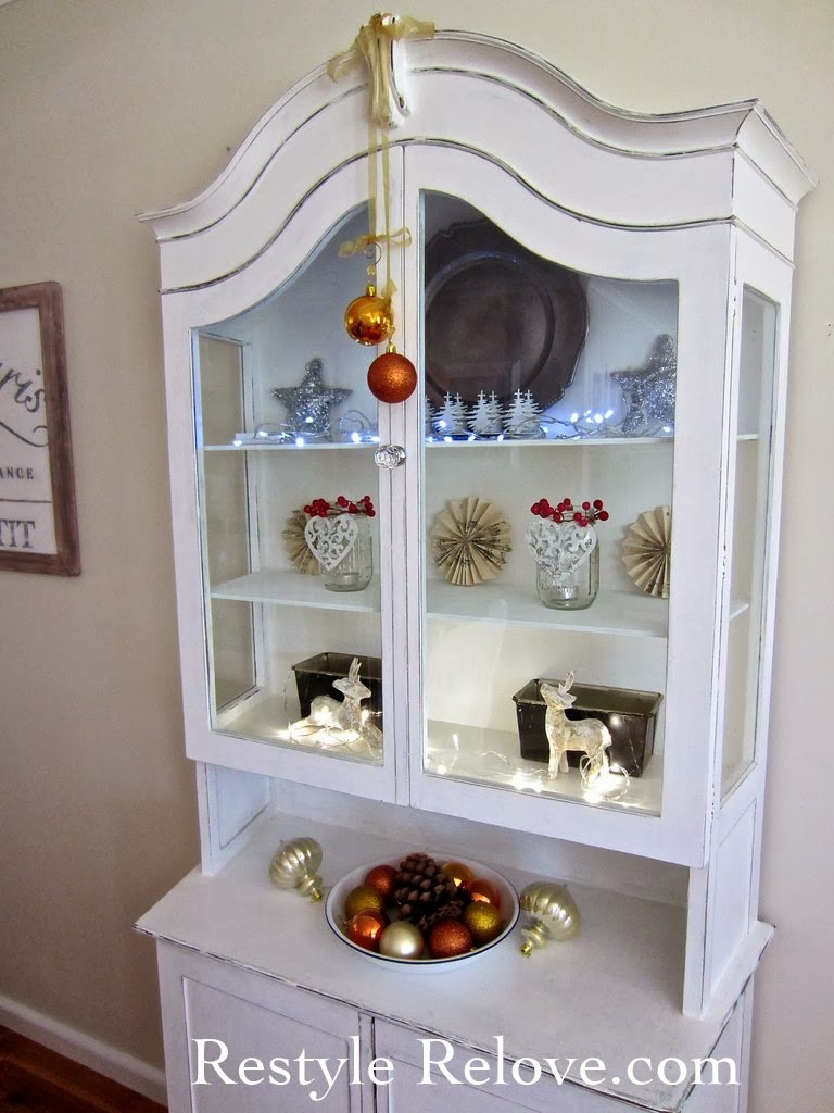 Dining Room Display Cabinet Restyled For Christmas