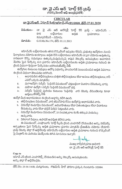 AP EHS YSR HealthCare Scheme eligibility criteria for Teachers and Employees Released..