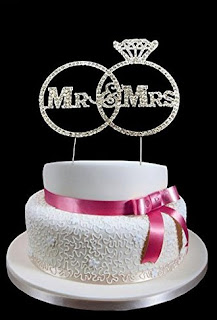 Rhinestone Mr and Mrs in Ring Design Wedding Cake Topper