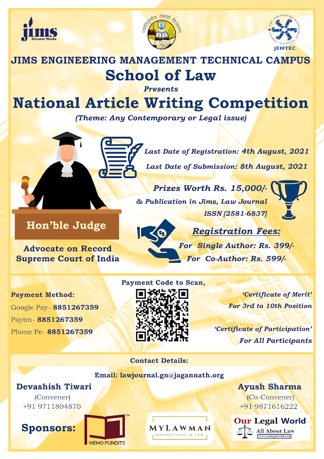 [Competition] National Article Writing Competition by School of Law, JIMS Engineering Management Technical Campus, Greater Noida [Register by 4 August 2021]