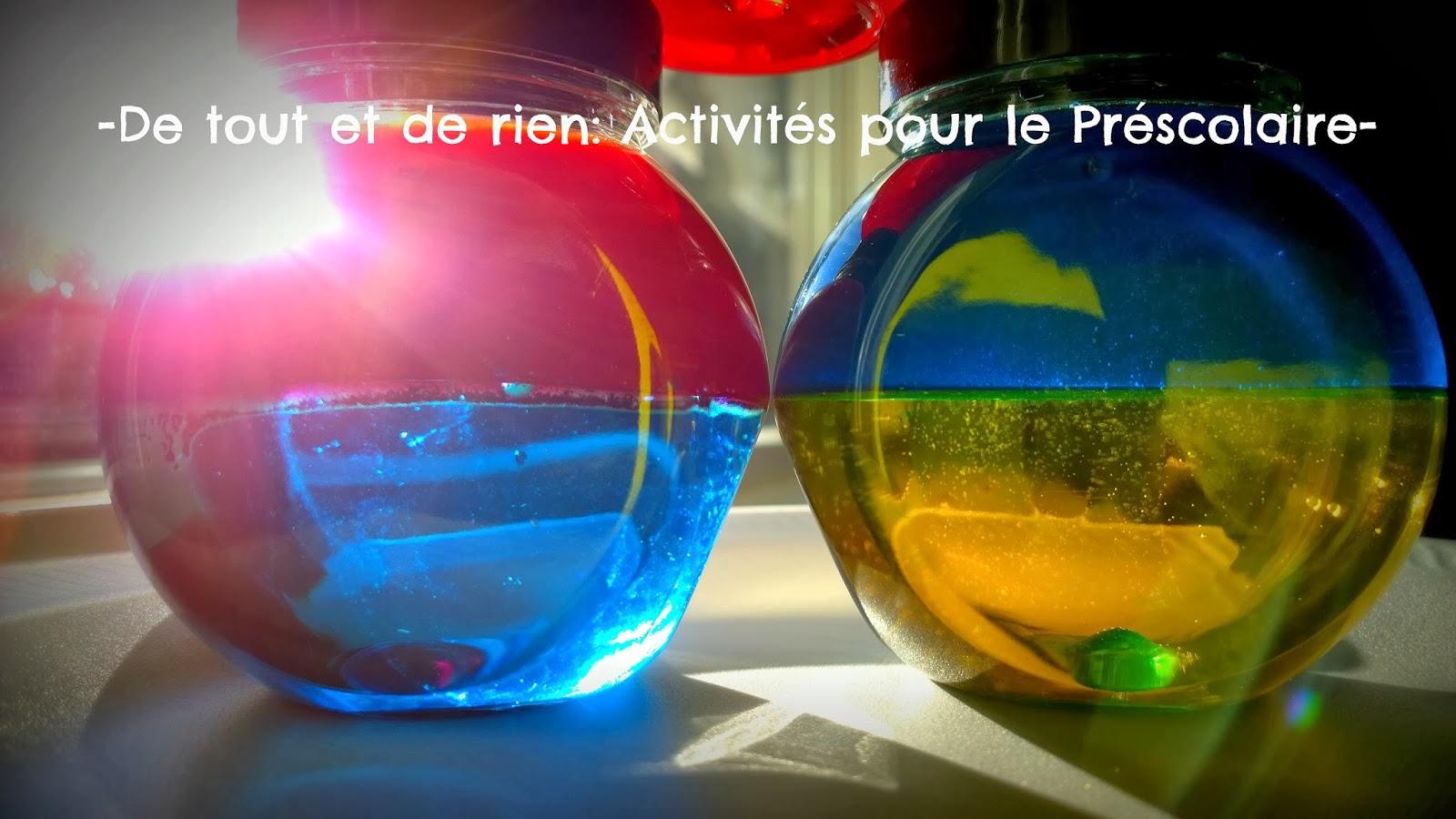 De tout et de rien activit s pour le pr scolaire safe color mixing discovery bottles not using - Colorant pour huile de lin ...