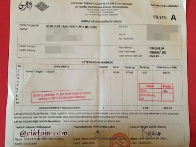 Surat Akuan Gadaian Ar-Rahnu KPF