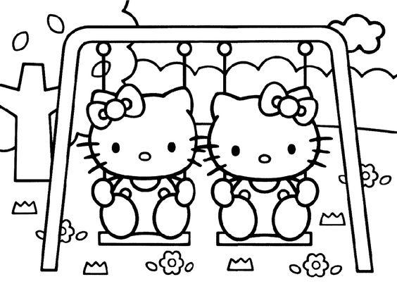 Tranh tô màu mèo hello kitty chơi xích đu