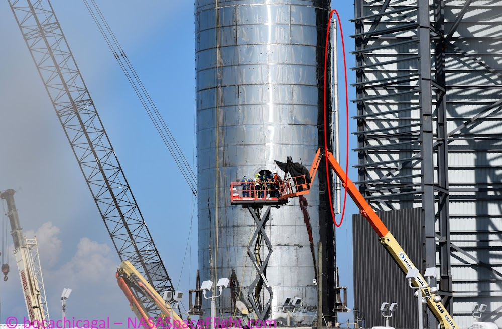 Fin hinge attached to SpaceX Starship Mk 1 (photo by BocaChicaGal)