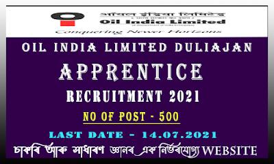 OIL India Apprentice Recruitment 2021(500 Vacancy)