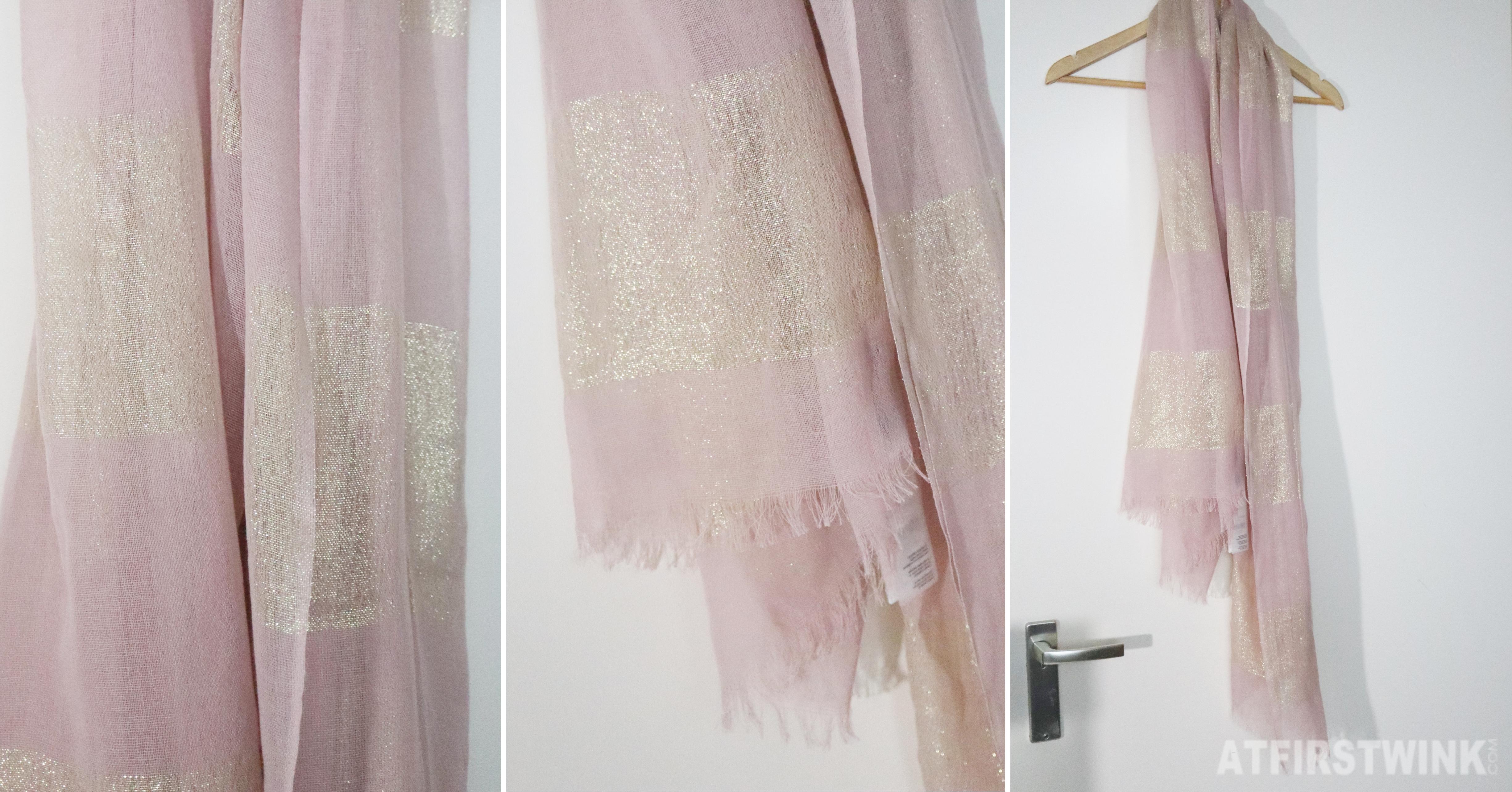 Parfois pink scarf transparent gold thread
