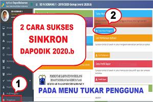 Cara Sukses Sinkronisasi Dapodikdasmen 2020b pada Menu Tukar Pengguna