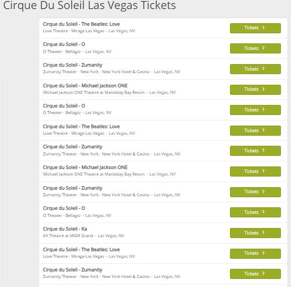 Cirque Du Soleil Las Vegas Tickets 2020