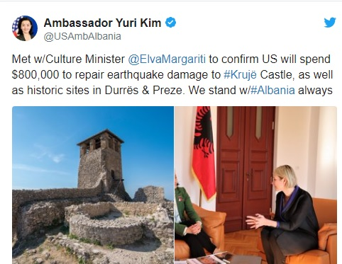 The US will provide $ 800,000 to repair the Kruja Castle