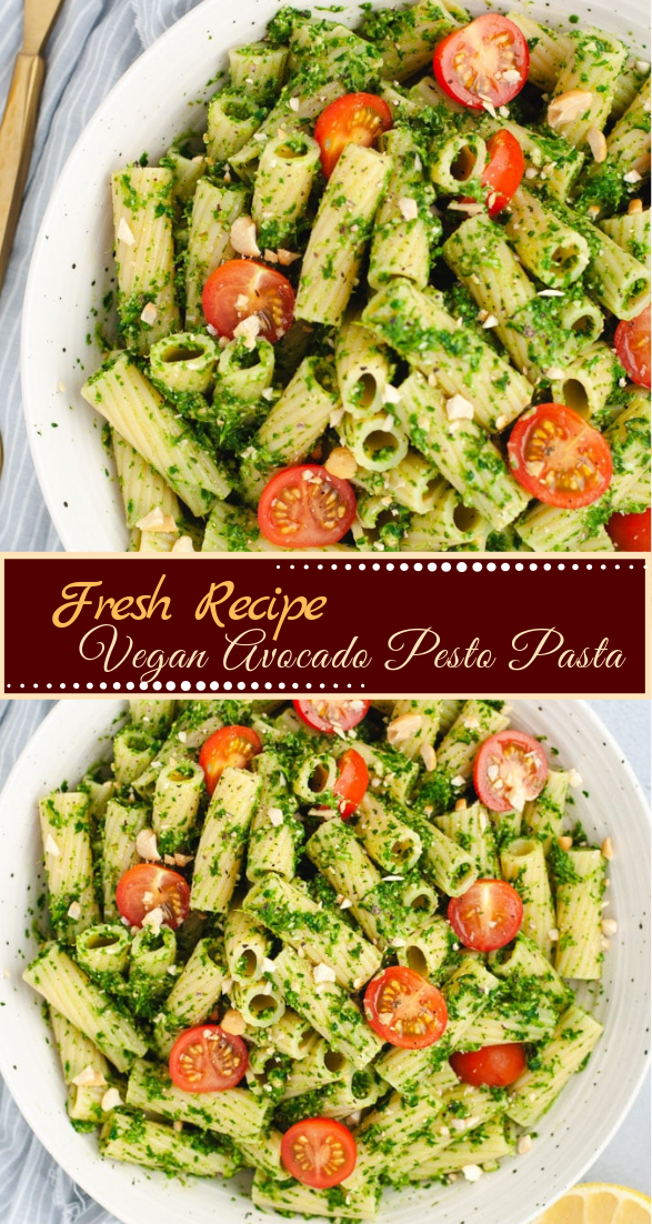 Vegan Avocado Pesto Pasta #vegan #vegetarian #soup #breakfast #lunch
