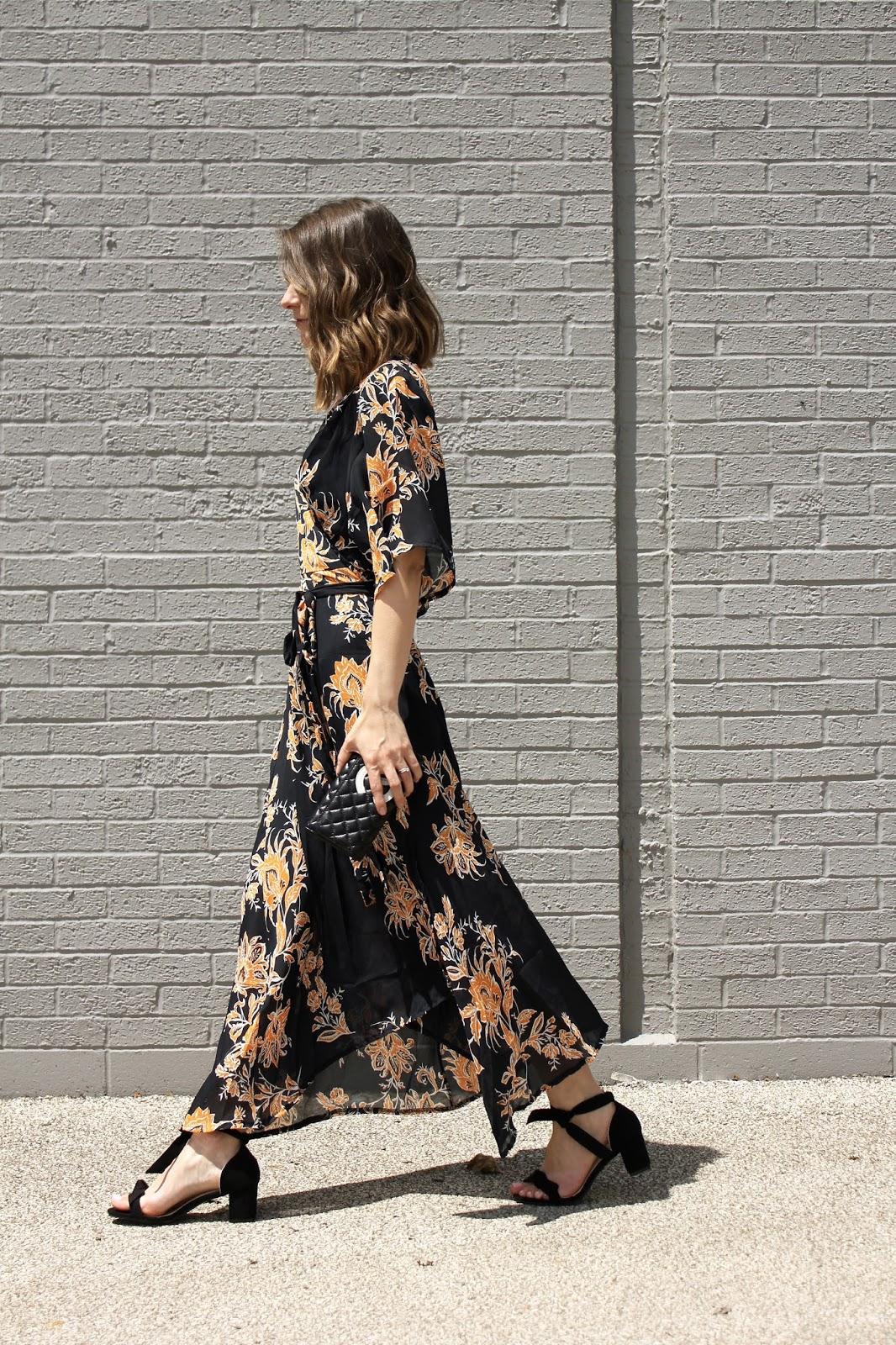 Rosegal V Neck Flower Print Kimono Maxi Wrap Dress