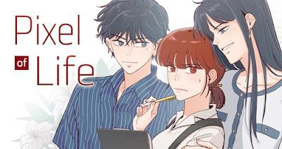 Dibujo manga Pixel of Life. Una mujer morena con camisa revisa un informe, incómoda por ser observada por una mujer y un hombre de pelo negro que están muy cerca de ella.