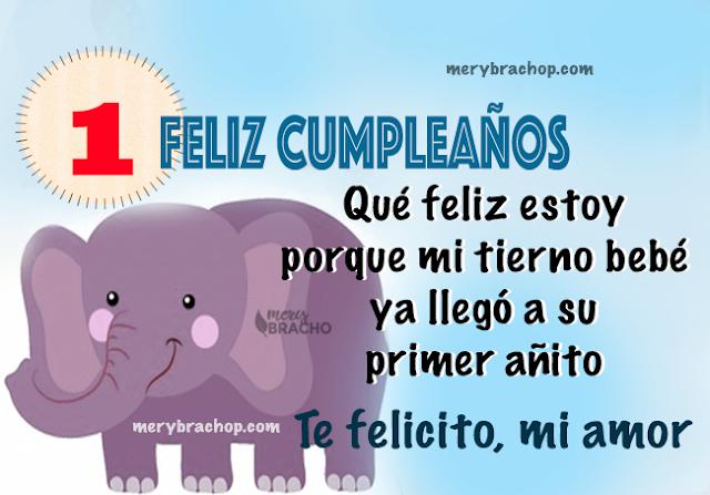 imagen felicitaciones cumpleaños de bebe con elefante y numero 1 primer año niño nene por mery bracho
