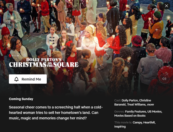 Dolly Parton's Christmas On The Square - 22 November 2020
