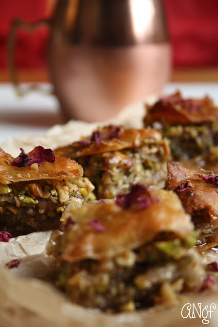 Rows of gluten free baklava with pistachios and rose petals | Anyonita-nibbles.co.uk