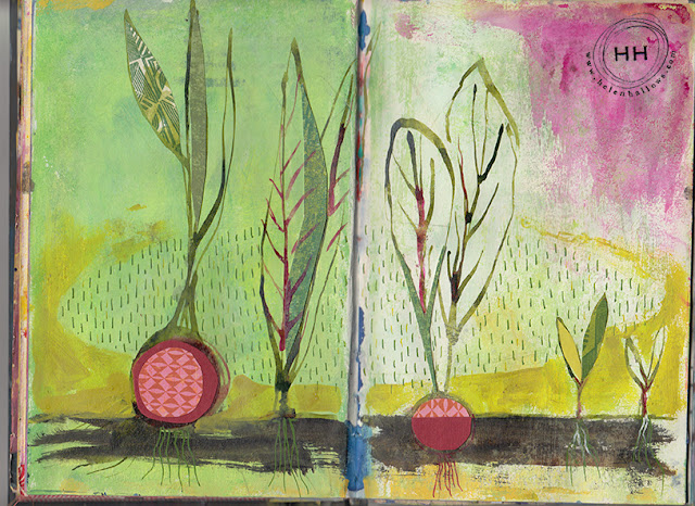 sketchbooks, Helen Hallows, mixed media, collage, art, Sketchbook Conversations