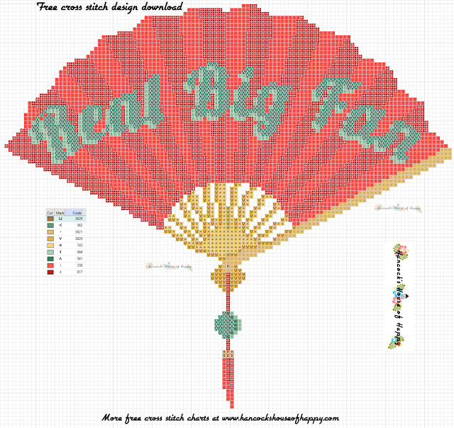 Free Cross Stitch Pattern for a Chinese Fan. And Also a Pun.
