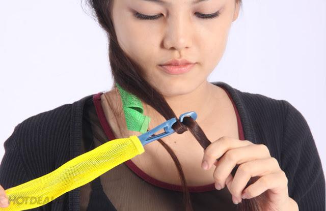 Cách làm tóc xoăn tự nhiên bằng lô cuốn tóc không nhiệt