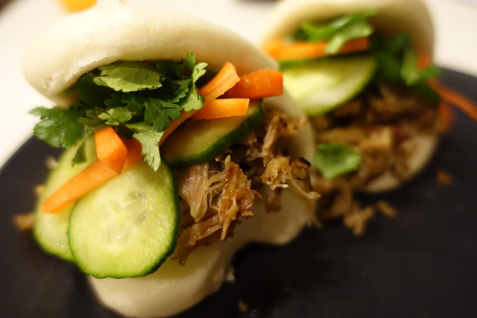 Slow Cooker Pulled Pork Steamed Buns - Gua Baos - Kathy Nom Nom