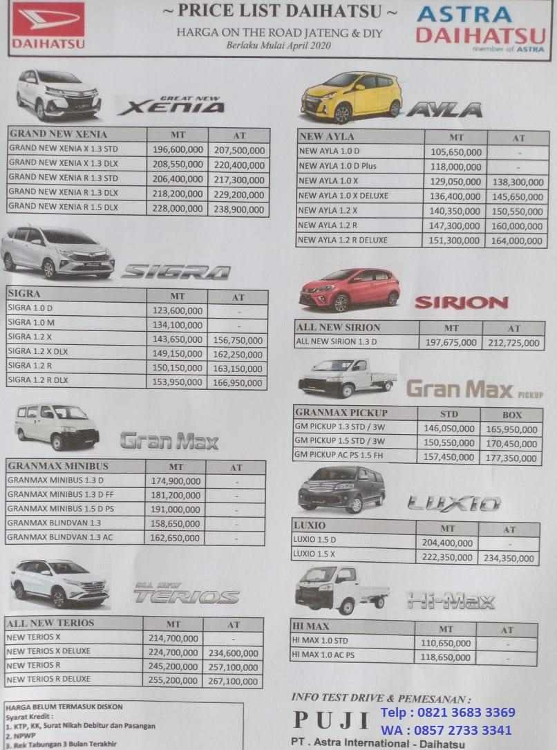 harga mobil daihatsu semarang 2020 sigra gran max xenia ayla terios