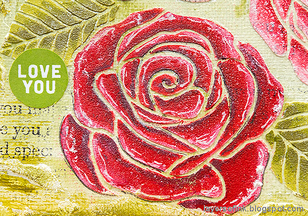 Layers of ink - Mixed Media Rose Canvas Tutorial by Anna-Karin Evaldsson. Red rose.