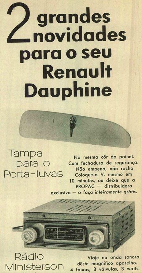Propaganda dos acessórios para o Renault Dauphine no começo dos anos 60