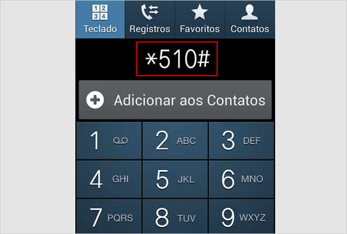 Discando o código *510# para descobrir o número do meu chip Claro