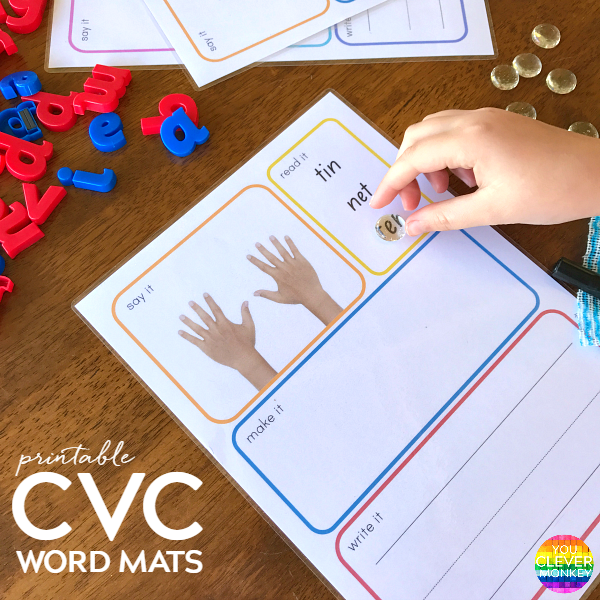 CVC Say It, Read It, Make It, Write It Word Mats | you clever monkey