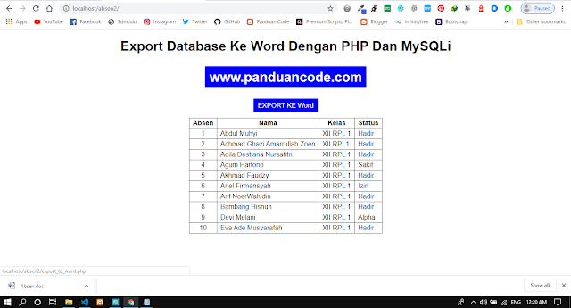 Export Data To File Word