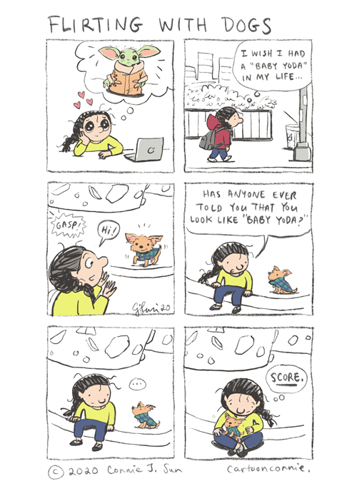 comics, illustration, humor, comic strip, baby yoda, cute dogs, drawing, yorkshire terrier, sketchbook, connie sun, cartoonconnie