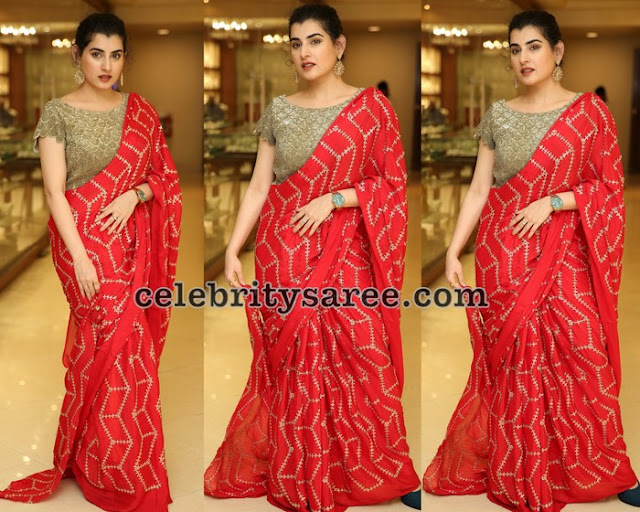 Archana Light Orange Designer Saree
