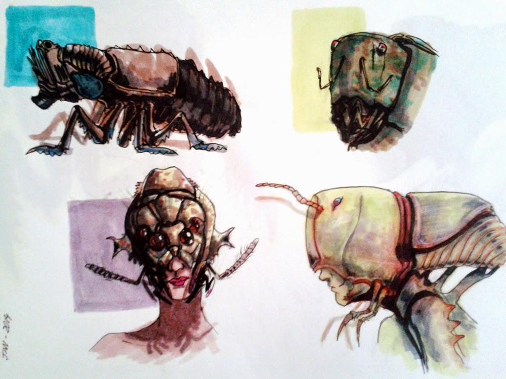 creature design, sketchbook, sci-fi, alien creature, alien insect, inseto, douglas deri, deri, deriart