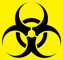 Simbol Biohazard (hitam dan kuning) agen biologi dan racun biologi
