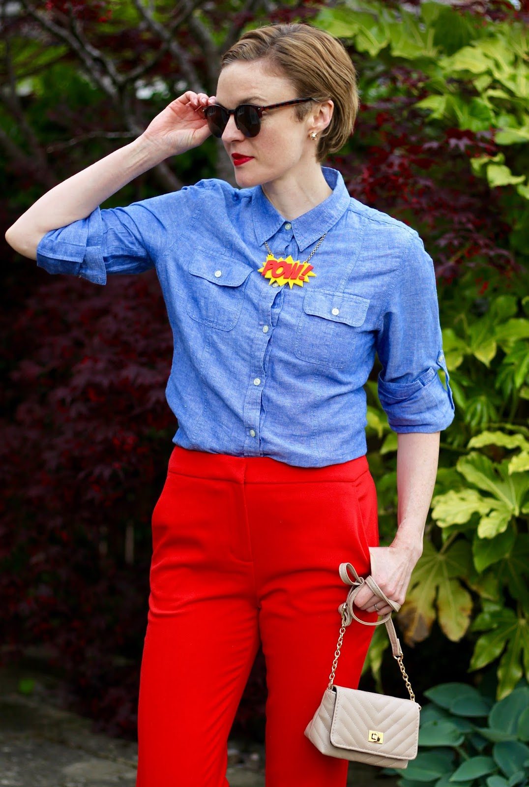 Red Trousers, Chambray Shirt | Spring Outfit | Fake Fabulous
