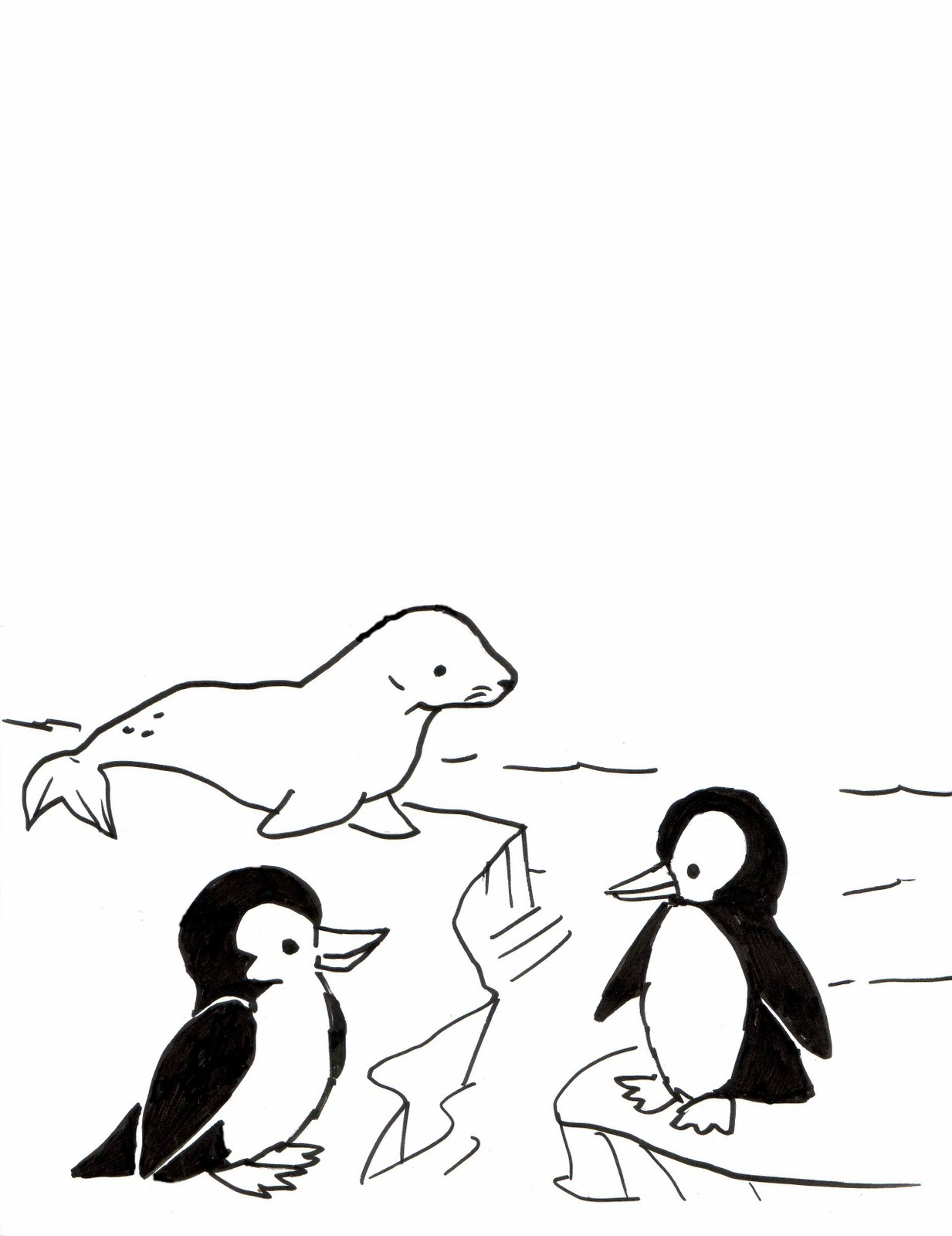 Kid Sketches: Penguin and Seal sketching activity for