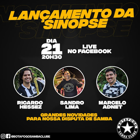 Botafogo Samba Clube fará live nesta segunda-feira para apresentar a sinopse do enredo de 2021