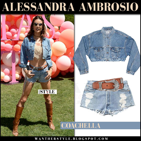 Alessandra Ambrosio in denim jacket, denim shorts and brown boots what she wore coachella april 2017