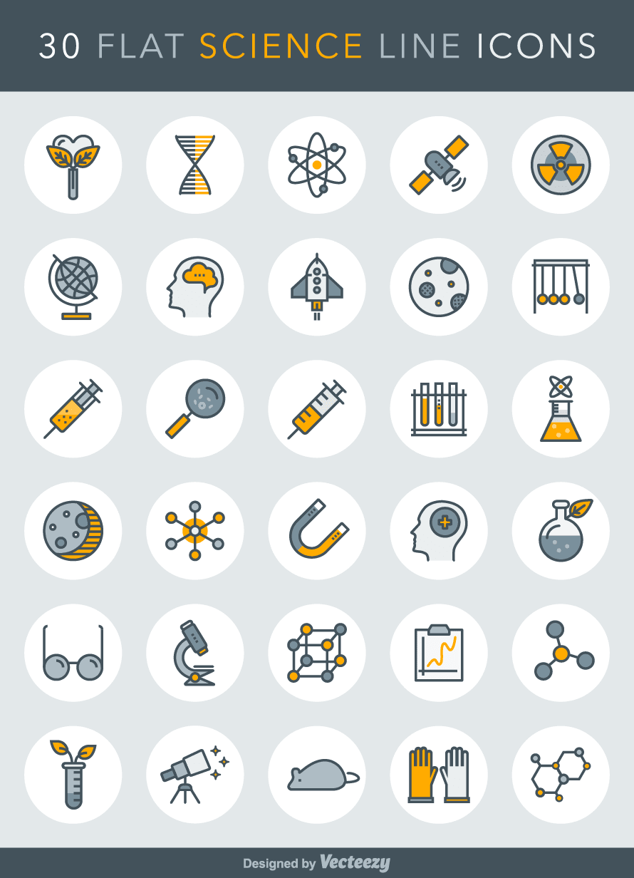30 Free Science Line Icons