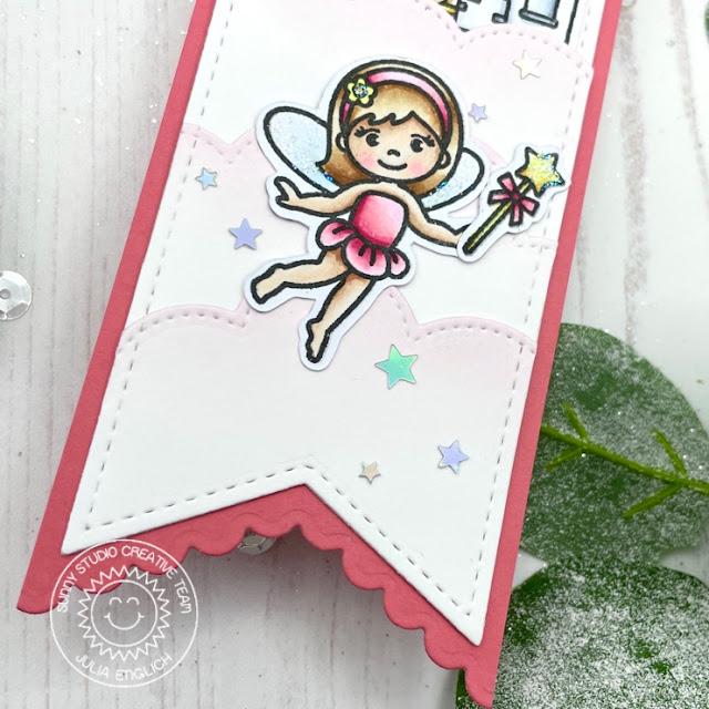 Sunny Studio Stamps: Slimline Dies Enchanted Garden Fairy Card by Julia Englich