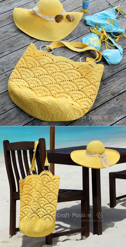 Crochet Shell Stitch Beach Tote Bag - Free Pattern