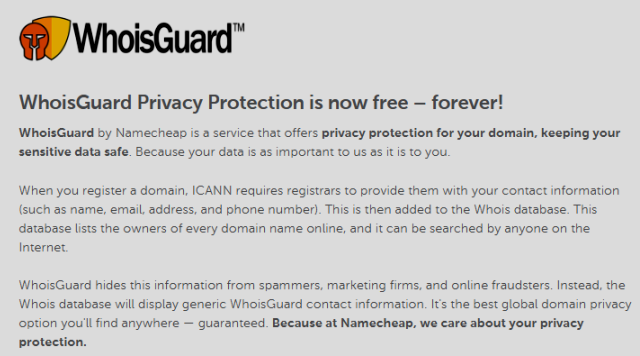 Free WHOISguard Privacy Free Forever